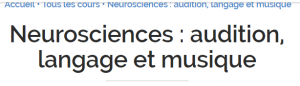 Formation gratuite / Neurosciences : audition, langage et musique